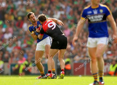 Mayo vs Kerry. Mayo's Tom Parsons and Anthony Maher of Kerry