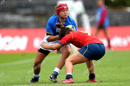 Stock Image of Italy vs Spain. Italy's Paola Zangirolami and Anne Fernandez de Corres of Spain