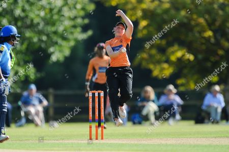 Arran Brindle of Southern Vipers bowling during the Women's Cricket Super League match between Southern Vipers and Yorkshire Diamonds at Arundel Castle, Arundel