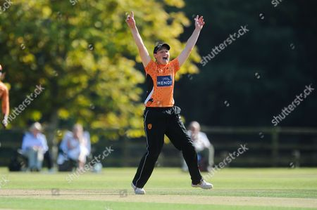 Arran Brindle of Southern Vipers celebrates the wicket of Lauren Winfield of Yorkshire Diamonds during the Women's Cricket Super League match between Southern Vipers and Yorkshire Diamonds at Arundel Castle, Arundel