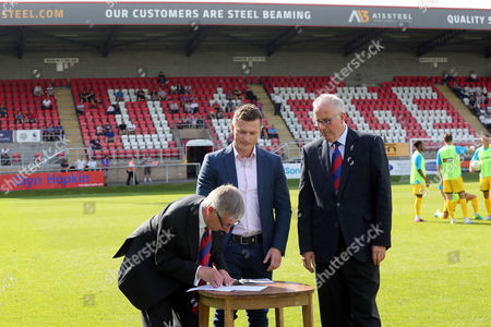 Representatives of new Stand sponsors A13 Steel with managing Director Steve Thompson and Chairman Paul Gwinn during Dagenham & Redbridge vs Bromley, Vanarama National League Football at the Chigwell Construction Stadium on 26th August 2017
