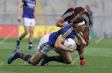 Mayo vs Kerry. Mayo's Tom Parsons and David Moran of Kerry