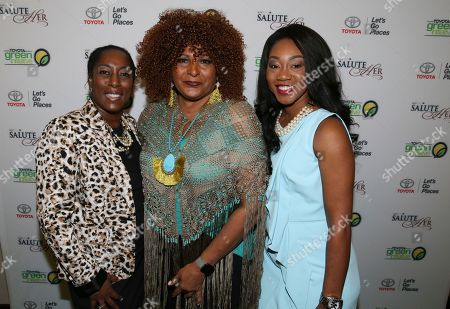 Adrienne Taylor, Pam Grier, Jessica Taylor Adrienne Trimble General Manager, Diversity & Inclusion at Toyota Motor North America, Pam Grier and Jessica Taylor Toyota Motor North America attend the Salute Her: Beauty of Diversity Awards luncheon presented by Toyota & AARP hosted by WHUR and Cafe Mocha Radio at the Marriott Marquis Washington, in Washington