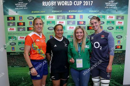 Stock Image of England vs New Zealand. Referee Joy Neville, New Zealand's FiaoÕo Faamausili, Peita McAlister, Heineken coin toss experience winner and England's Sarah Hunter