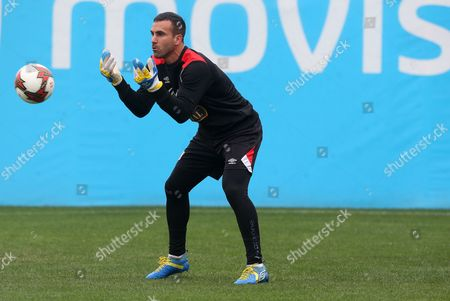 Peruvian goalkeeper Jose Carvallo is seen during the training of the Peruvian soccer team at the facilities of the National Sports Village (Videna) in Lima, Peru, 26 August 2017. Peru will receive on 31 August the selection of Bolivia for the day 15 of the qualifiers of the World Cup 2018 in the Monumental stadium of the city of Lima.