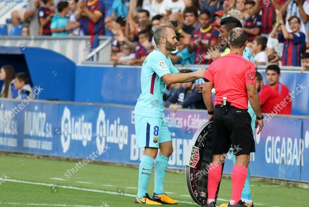 Andres Iniesta of FC Barcelona changed for Jose Paulo Bezerra (Paulinho) of FC Barcelona during the Liga Santanter match palyed in Mendizoroza Stadium between Deportivo Alaves and FC Barcelona. Aug 26th 2017. Vitoria, Spain.