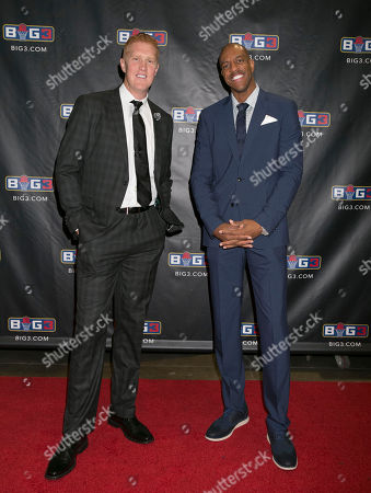 Stock Picture of Brian Scalabrine, Jerome Williams Brian Scalabrine, left, and Jerome Williams, wearing their JF. J Ferrar suits with custom linings, available only at JCPenney, pose for a photo on the red carpet of the BIG3 Championship game in Las Vegas, NV., in Las Vegas