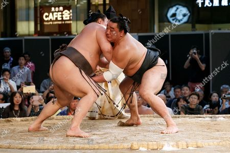 Editorial picture of Hakkiyoi KITTE Sumo near Tokyo Station, Japan - 27 Aug 2017