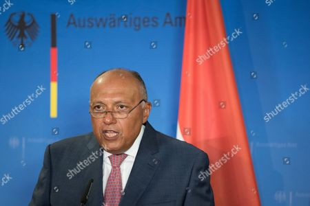 Egyptian Foreign Minister Sameh Hassan Shoukry speaks on a press conference with his German counterpart on their bilateral meeting in Berlin, Germany, 27 August 2017. Both ministers discussed issues of migration, fight against terrorism and the importance of river Nile for Egypt and the Middle East.