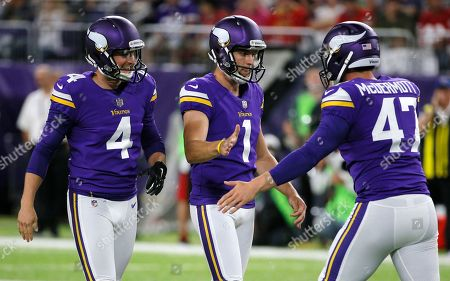 Marshall Koehn, Ryan Quigley, Kevin McDermott Minnesota Vikings kicker Marshall Koehn, center, celebrates with teammates Ryan Quigley, left, and Kevin McDermott, right, after kicking a 58-yard field goal during the second half of an NFL preseason football game against the San Francisco 49ers, in Minneapolis