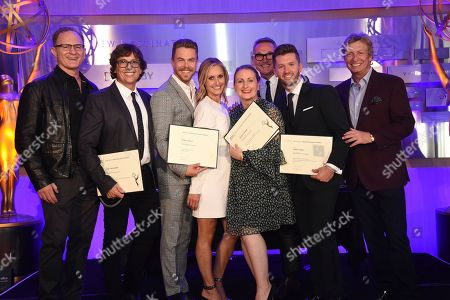Todd Holland, Fred Tallaksen, Derek Hough, Ashley Edens-Shaffer, Mandy Moore, Jeff Thacker, Travis Wall, Nigel Lythgoe Todd Holland, and from left, Fred Tallaksen, Derek Hough, Ashley Edens-Shaffer, Mandy Moore, Jeff Thacker, Travis Wall, and Nigel Lythgoe attend the Choreography Nominee Reception at the Television Academy's Saban Media Center, in the NoHo Arts District in Los Angeles
