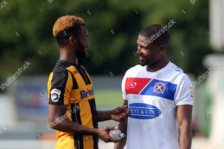Zavon Hines of Maidstone and /d17 chat after Maidstone United  vs Dagenham & Redbridge, Vanarama National League Football at the Gallagher Stadium on 28th August 2017