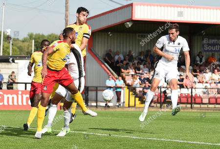 Tom Chapman of Boreham Wood heads the ball towards goal during the Vanarama National League match between Boreham Wood and Wrexham at Meadow Park, Boredom Wood, Hertfordshire on August 28.