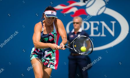 Stock Picture of Jelena Jankovic of Serbia in action during the first round at the 2017 US Open Grand Slam tennis tournament