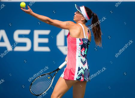 Jelena Jankovic of Serbia in action during the first round at the 2017 US Open Grand Slam tennis tournament
