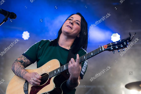 Lucy Spraggan performs on stage at Manchester Pride.