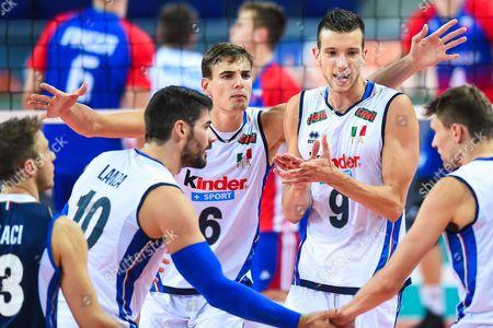 Filippo Lanza, Simone Giannelli, Daniele Mazzone of Italy