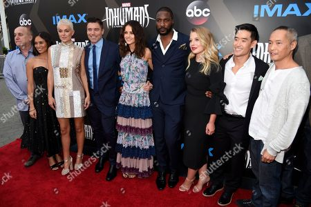 "Jeph Loeb, Sonya Balmores, Serinda Swan, Anson Mount, Isabelle Cornish, Eme Ikwuakor, ellen Woglom, Mike Moh, Ken Leung Jeph Loeb, EVP and head of television, Marvel, from left, Sonya Balmores, Serinda Swan, Anson Mount, Isabelle Cornish, Eme Ikwuakor, ellen Woglom, Mike Moh and Ken Leung arrives at the world premiere of ""Inhumans"" at Universal CityWalk, in Universal City, Calif"
