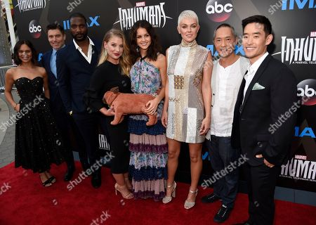 "Sonya Balmores, Anson Mount, Eme Ikwuakor, Ellen Woglom, Isabelle Cornish, Serinda Swan, Ken Leung, Mike Moh Sonya Balmores, from left, Anson Mount, Eme Ikwuakor, Ellen Woglom, Isabelle Cornish, Serinda Swan, Ken Leung and Mike Moh arrive at the world premiere of ""Inhumans"" at Universal CityWalk, in Universal City, Calif"