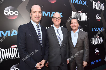 Stock Image of Ben Sherwood, Co-Chairman, Disney Media Networks / President, Disney-ABC Television Group, Greg Foster, Imax Entertainment CEO, and Bruce Rosenblum, President, Business Operations for Disney-ABC Television Group