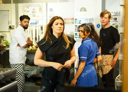 Ep 9244 Friday 8th September 2017 - 1st Ep Will, as played by Leon Ockenden, invites Maria Connor, as played by Samia Smith, to meet him for lunch at the bistro. Oblivious to his plotting, Maria readily agrees. Will then calls in the bistro and when nobody's looking, plants drugs in the first aid box. Taking out his phone, he then tips off the police. As Maria joins him for lunch, Rana Nazir, as played by Bhavna Limbachia, takes Zeedan Nazir, as played by Qasim Ahktar, by surprise in the bistro kitchen, causing him to cut himself. Michelle Connor, as played by Kym Marsh, pulls out the first aid box but when she opens it, she's shocked to find a bag of drugs. As Michelle, Zeedan, Kate, Daniel and Rana stare at the drugs in horror, the police arrive with sniffer dogs. Will watches in excitement.