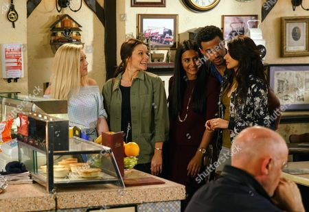 Ep 9243 Wednesday 6th September 2017 Having spent the night together, hungover Kate Connor, as played by Faye Brookes, and Imogen, as played by Melissa Johns, call in the café. Rana Nazir, as played by Bhavna Limbachia, bristles at their obvious intimacy.