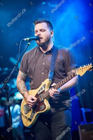 London United Kingdom - August 25: Guitarist And Vocalist Dustin Kensrue Of American Hard Rock Group Thrice Photographed During Soundcheck At The O2 Kentish Town Forum In London On August 25