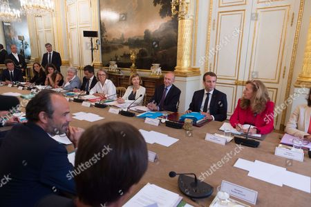 French Prime Minister Edouard Philippe, French Culture and Communication minister Francoise Nyssen, French Defense Minister Florence Pagny, French Interior Minister Gerard Collomb, French President Emmanuel Macron and French Justice Minister Nicole Belloubet