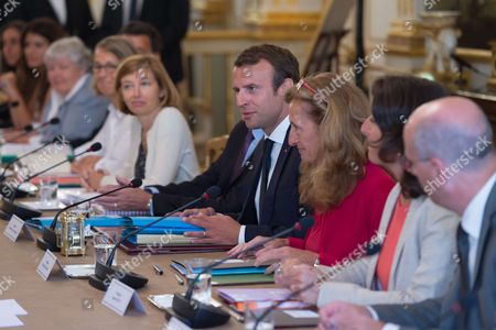 Stock Picture of French Defense Minister Florence Pagny, French President Emmanuel Macron and French Justice Minister Nicole Belloubet