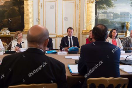 French Defense Minister Florence Pagny, French President Emmanuel Macron.