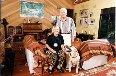 Playwright Anthony Shaffer (died 11/01) At Home In Northern Queensland Australia With His Wife Diane Cilento And Their Dog. Diane Cilento Actress Died 6/10/2011.