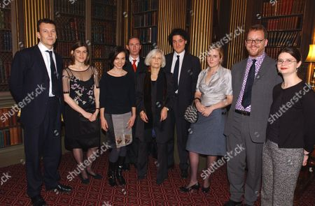 Judges And Nominees For The Mail On Sunday/john Llewellyn Rhys Prize 2001 Pictured At The Reform Club Presentation Lunch On Wednesday. (l-r) Christopher Woodward Susanna Jones (winner) Emily Perkins A.n.wilson Shena Mackay Tobias Hill Susie Boyt Philip Hensher & Esther Morgan.  13/11/02.