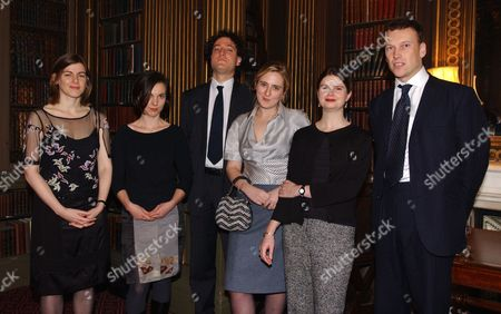 Winner Of The Mail On Sunday/john Llewellyn Rhys Prize 2001 Susanna Jones (left) With Runners Up Emily Perkins Tobias Hill Susie Boyt Esther Morgan & Christopher Woodward.  13/11/02.