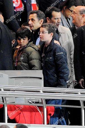 French president Nicolas Sarkozy and son Louis Sarkozy