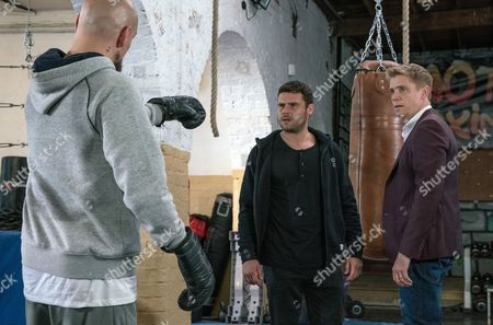 Stock Picture of Ep 7920 Monday 28th August 2017 When he arrives at the gym, Jason, as played by Samuel Edward-Cook, taunts him leaving Aaron Dingle, as played by Danny Miller, furious and more intent on fighting it out. Suddenly Robert Sugden, as played by Ryan Hawley, appears with the others and tries to stop the fight going ahead but Jason suggests he and Aaron have a legitimate match in the ring.