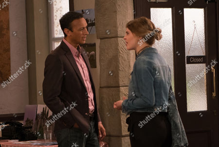 Stock Image of Ep 7929 Thursday 7th September 2017 - 1st Ep Upon her arrival at the photoshoot, Nell, as played by Scarlett Archer, picks up on Rishi's disapproval and Jai Sharma, as played by Chris Bisson, concedes they should maybe talk about the baby. She lashes out and storms out. Fretting he's let Nell down and realising he wants both the baby and Nell, Jai decides to put things right.