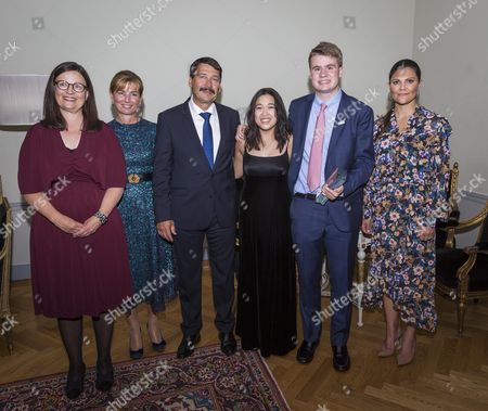 Anna Ekström, Anita Herczegh, Hungary's president Janos Ader, Stockholm Junior Water Prize Rachel Chang, Ryan Thorpe and Crown Princess Victoria