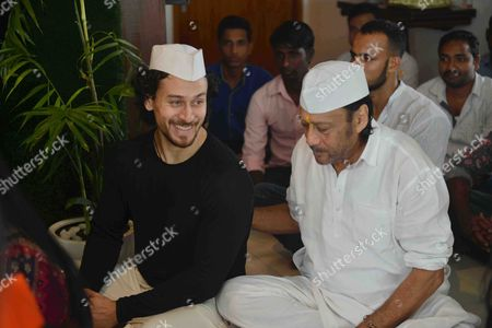 Bollywood actor Jackie Shroff with his son and actor Tiger Shroff celebrate Ganesh Chaturthi