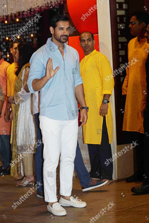 Bollywood actor John Abraham during the Ganesh Puja hosted by Mukesh Ambani, the chairman of Reliance Industries Ltd (RIL), at his residence to celebrate Ganesh Chaturthi, at Antilia, Mumbai on August 25, 2017, In Mumbai, India. (Photo by Prodip Guha/Hindustan Times)