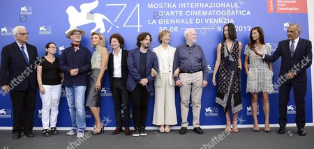 Members of the 'Venezia 74' jury (2-L-R) Ildiko Enyedi, Yonfan, Jasmine Trinca, Michel Franco, Edgar Wright, Annette Bening, David Stratton, Rebecca Hall, Anna Mouglalis and Festival Director Alberto Barbera pose with Venice Biennale President Paolo Baratta (L) during a photocall at the 74th annual Venice International Film Festival, in Venice, Italy, 30 August 2017. The festival runs from 30 August to 09 September.