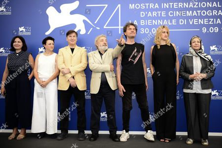 Stock Picture of Members of the 'Orizzonti' jury (L-R) Ami Canaan Mann, Rebecca Zlotowski, Andres Duprat, Gianni Amelio, Mark Cousins, Fien Troch and Rakhshan Bani-Etemad pose during a photocall at the 74th annual Venice International Film Festival, in Venice, Italy, 30 August 2017. The festival runs from 30 August to 09 September.