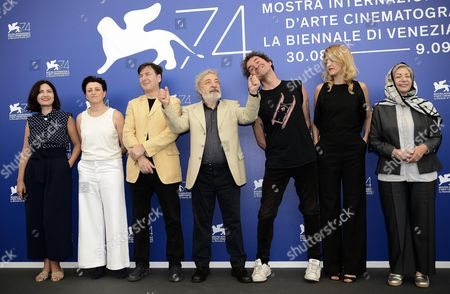 Members of the 'Orizzonti' jury (L-R) Ami Canaan Mann, Rebecca Zlotowski, Andres Duprat, Gianni Amelio, Mark Cousins, Fien Troch and Rakhshan Bani-Etemad pose during a photocall at the 74th annual Venice International Film Festival, in Venice, Italy, 30 August 2017. The festival runs from 30 August to 09 September.