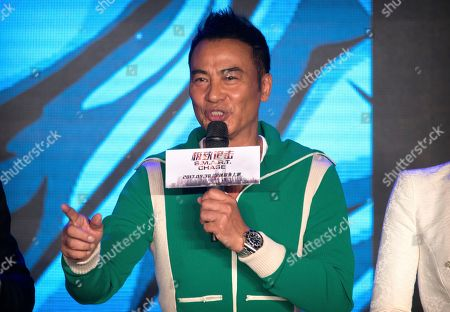 Stock Picture of Hong Kong actor Simon Yam speaks during a press conference for the movie S.M.A.R.T. Chase in Beijing, . The film opens in theaters Sept. 30