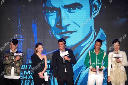 Hannah Quinlivan, Orlando Bloom, Jing Liang, Simon Yam, Tom Price From left, Hong Kong actor Tom Price, Australian-Taiwanese actress Hannah Quinlivan, British actor Orlando Bloom, Hong Kong actor Simon Yam, and Chinese actress Jing Liang laugh during a press conference for the movie S.M.A.R.T. Chase in Beijing, . The film opens in theaters Sept. 30