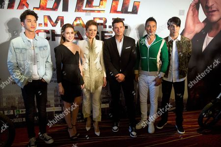Leo Wu, Hannah Quinlivan, Orlando Bloom, Jing Liang, Simon Yam, Tom Price From left, Chinese actor Leo Wu, Australian-Taiwanese actress Hannah Quinlivan, Chinese actress Jing Liang, British actor Orlando Bloom, Hong Kong actor Simon Yam, and Hong Kong actor Tom Price pose for a photo before for a press conference for the movie S.M.A.R.T. Chase in Beijing, . The film opens in theaters Sept. 30