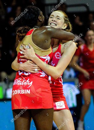 Stock Picture of England's Kadeen Corbin and Helen Housby celebrate the 49-45 victory