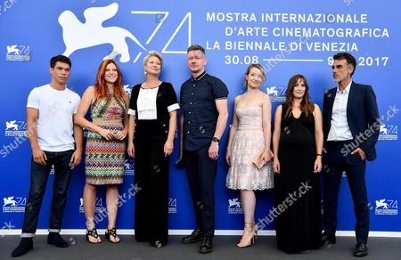 (L-R) French actor Sandor Funtek, Italian director Susanna Nicchiarelli, Danish actress Trine Dyrholm, British actor John Gordon Sinclair, Romanian actress Anamaria Marinca, British actress Karina Fernandez, and Italian actor Thomas Trabacchi pose during a photocall for 'Nico, 1988' at the 74th annual Venice International Film Festival, in Venice, Italy, 30 August 2017. The movie is presented in the Orizzonti section at the festival running from 30 August to 09 September.