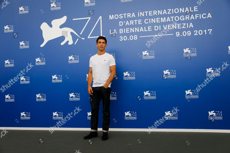 """Actor Sandor Funtek poses during the photo call for the film """"Nico 1988"""" at the 74th edition of the Venice Film Festival in Venice"""