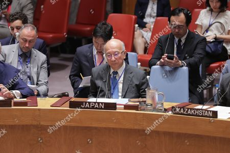 Koro Bessho, Permanent Representative of Japan to the UN, attend a Security Council Meeting on peace keeping operations prier to the DPRK missile launching Consultations encounter today at the UN Headquarters