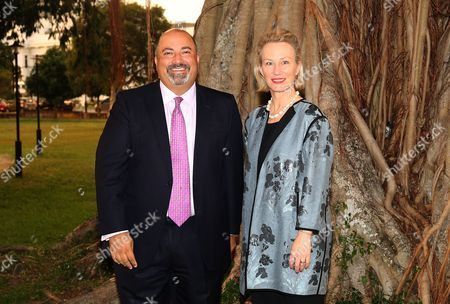 Ambassador to Sri Lanka Atul Keshap (L) and US Assistant Secretary of State for South and Central Asian Affairs and Acting Special Representative for Afghanistan and Pakistan Alice Wells pose for photographers in Colombo, Sri Lanka